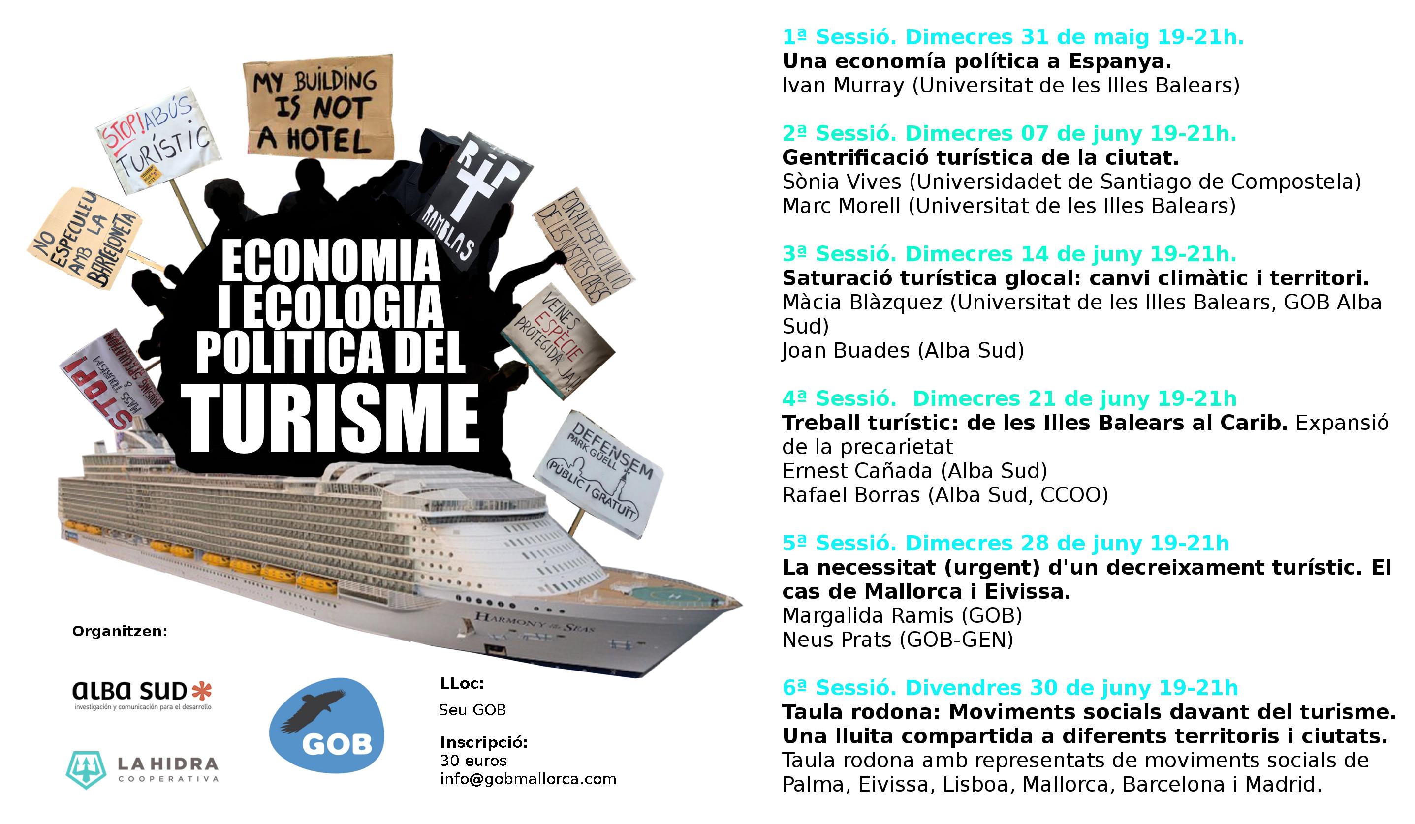 """Curs """"Economia i Ecologia Política del Turisme"""" (maig i juny 2017)"""